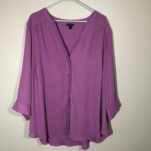Torrid Purple Button Up Long Sleeve Blouse SZ  3X
